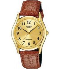 reloj casio mtp_1094q_9b marrón cuero