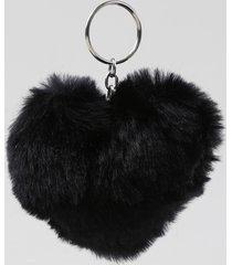 chaveiro coração em pelúcia preto