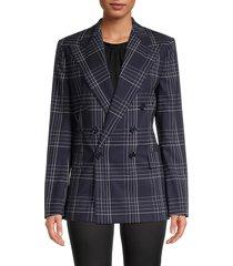 ralph lauren women's windowpane wool jacket - dark navy - size 12