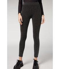 calzedonia glitter geometric leggings woman grey size s