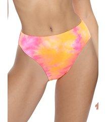 pq women's abstract-print bikini bottom - orange pink tie dye - size m