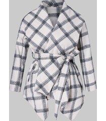 asymmetrical shawl collar plaid belted coat