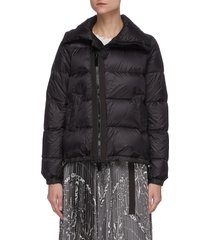 asymmetric zip front high neck puffer jacket
