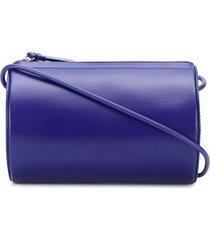 building block cylinder sling shoulder bag - blue