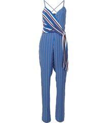 rag & bone striped v-neck jumpsuit - blue