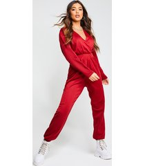recycled cargo pocket sweat jumpsuit, wine