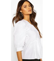 puff sleeve cotton mix blouse, white