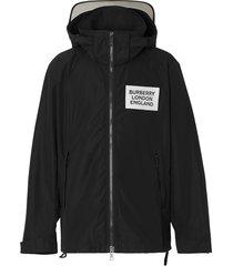 burberry detachable hood shape-memory taffeta jacket - black