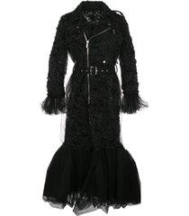 comme des garçons noir kei ninomiya tulle biker-style coat - black