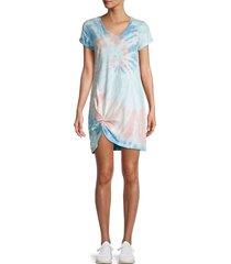 lea & viola women's tie-dye knotted t-shirt dress - tie dye - size xs