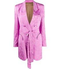 blazé milano floral print belted blazer - pink