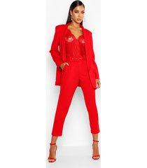 getailleerde broek met ceintuur, rood