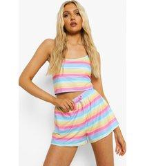 sorbet regenboog pyjama set met hemdje en shorts, peach