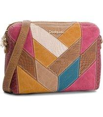 bolsa tiracolo desigual dupla face color block bege/rosa