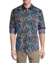 robert graham men's floral graphic button down shirt - blue multi - size l
