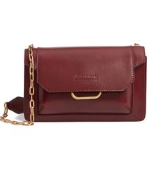 isabel marant skamy leather crossbody bag - burgundy
