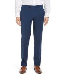 jack victor men's voyageur solid stretch wool blend flat front dress pants, size 32 in navy at nordstrom