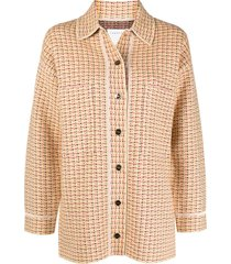 sandro paris chunky woven-knit jacket - yellow