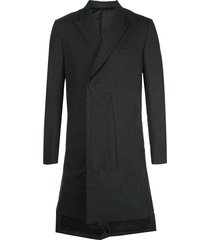 undercover silhouette embossed coat - charcoal