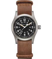 women's hamilton khaki field leather strap watch, 38mm