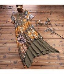 zanzea verano de las mujeres con cuello redondo de manga corta vestido de midi irregular floral maxi vestidos más el tamaño -verde