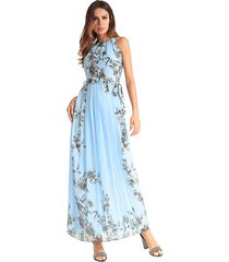 vestido largo de chiffón para mujer eatampado - azul