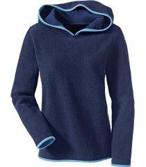 biokatoenen fleece pullover met capuchon, nachtblauw/jeansblauw 44