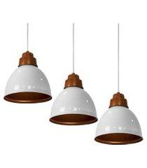 kit 3 lustres pendentes karina de alumínio branco c/ cobre