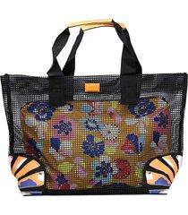 bolsa sacola desigual tela com necessaire preta/azul