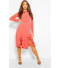 high neck pussybow midi dress, rose