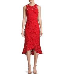 floral cutout cotton high-low dress