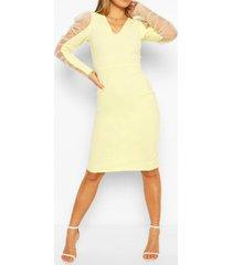 dobby mesh organza puff sleeve midi dress, lemon