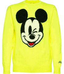 mc2 saint barth fluo yellow man sweater mickey mouse print - disney special edition ©