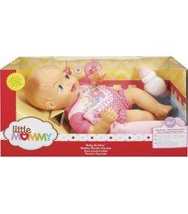 boneca little mommy recém nascido macacão flores - mattel - kanui