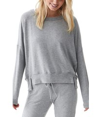 michael stars kiara staggered hem top, size x-large in heather grey at nordstrom