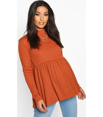 maternity high neck smock top, rust