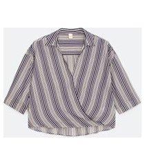 camisa decote v manga curta transpassada listrada | marfinno | azul | p