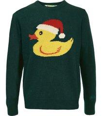 snow ducky green mans sweater