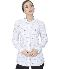 camisa estampada aves sophia para mujer - blanco