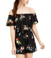 be bop juniors' floral-print off-the-shoulder romper