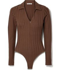 jen ribbed stretch-tencel lyocell jersey bodysuit