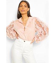floral applique organza shirt, rose
