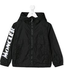 moncler enfant saxophone logo-print jacket - black