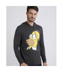camiseta masculina homer simpson com capuz manga longa cinza mescla escuro