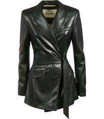 nanushka sculpted waist fitted blazer