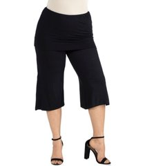 24seven comfort apparel women's plus size fold over waist cropped pants