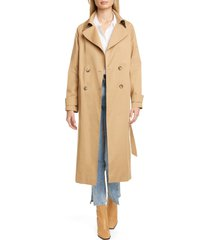 women's helene berman double breasted belted stretch cotton trench coat