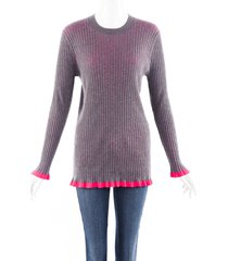burberry gray pink cashmere wool sweater pink/gray sz: l