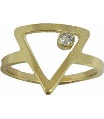 anel banho de ouro triangulo ponto de luz