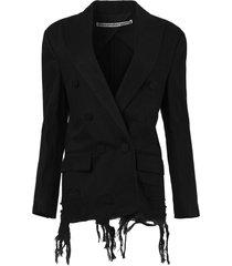 double breasted denim blazer with frayed hem, black